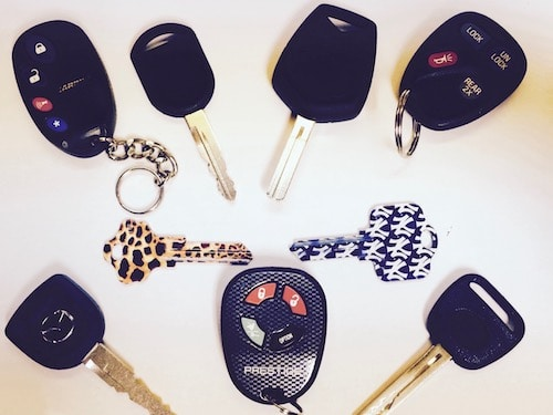 a variety of car keys and car remotes