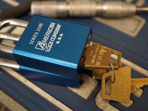 blue american lock padlock series 1105