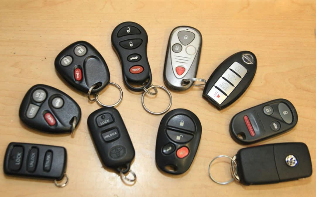 a selection of car key fobs