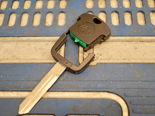 ilco transponder key on a table